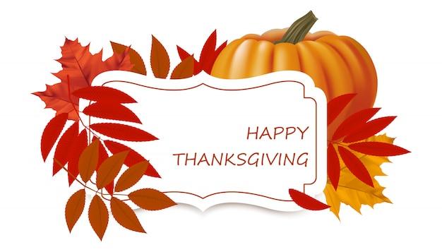 Autumn with maple leaves, autumn foliage, and pumpkin.