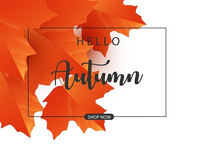 Autumn with orange autumn maple leaves