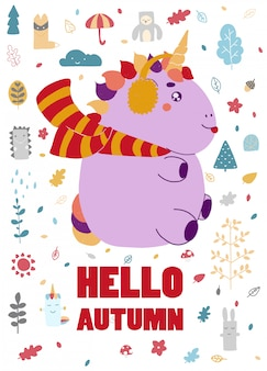 Autumn with a unicorn. poster for the autumn winter holiday celebration
