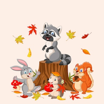 Autumn  with wild animals