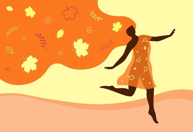 긴 머리와 단풍나무 잎을 가진 가을 여자 행복한 아름다운 소녀는 자연을 즐긴다 계절 개념