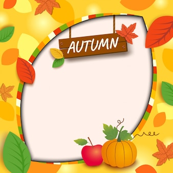 Autumn wood sign background