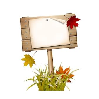 Осенний деревянный знак в увядшей траве с падающими красными и желтыми листьями. векторные иллюстрации, изолированные на белом фоне