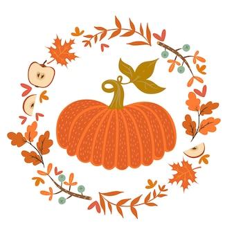 Осенний венок и тыква изолировать на белом фоне