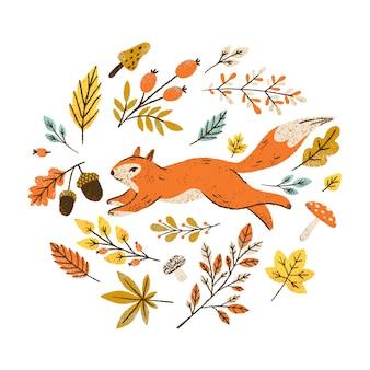 落ち葉、果実、キノコと秋の花輪。リスと丸いフレーム。