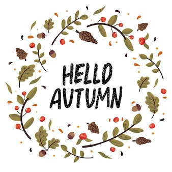 Осенний венок с падающими листьями, шишками, желудями и надписями. коллекция записок элементов осеннего сезона. осенняя открытка