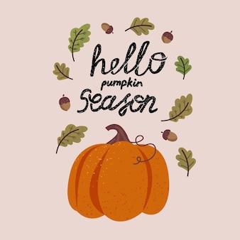 Осенний венок с падающими листьями, тыквой и надписями. коллекция записок элементов осеннего сезона. осенняя открытка
