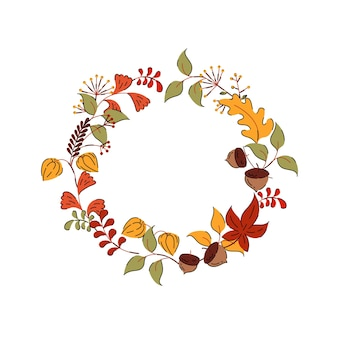 Осенний венок с листьями и цветами в рисованном стиле