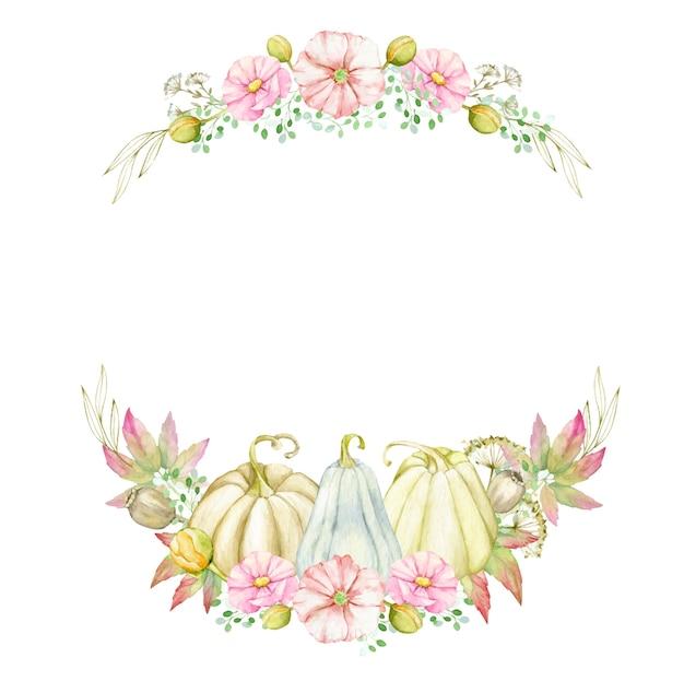 カボチャ、葉、花、枝と秋の花輪。感謝祭、自由奔放に生きるスタイルのための水彩画の丸い形のテンプレート。