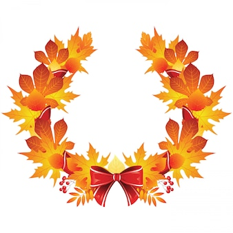 Autumn wreath with red ribbon