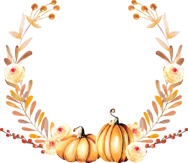 Autumn wreath with watercolor pumpkins and fall flowers