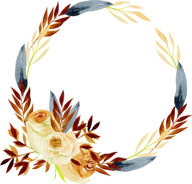 Autumn wreath with watercolor tea roses and branches