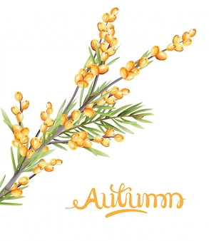 Autumn yellow berries branch with green leaves