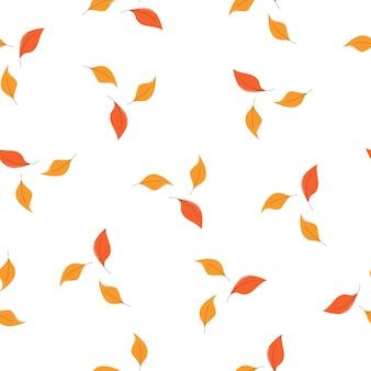 Осенние желтые листья бесшовные модели на белом фоне в плоском стиле