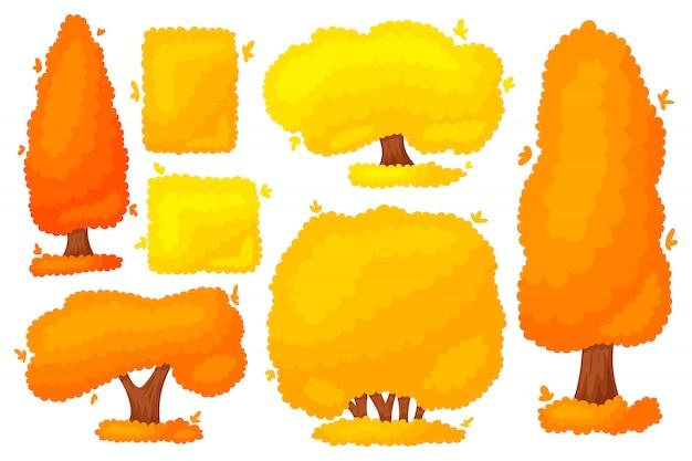 Autumn yellow orange tree bush.