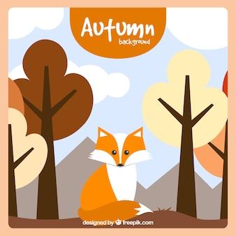 Осенний фон с плоской лисой и деревьями