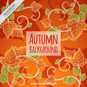 Осенний фон с листьями в оранжевых и зеленых тонах