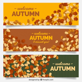 Autumnal banners with flat leaves