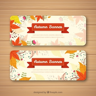 Autumnal banners with leaves and ribbon