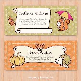 かわいい動物と秋のバナー