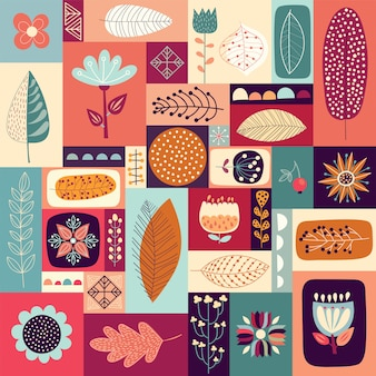 Autumnal decorative background with seasonal elements