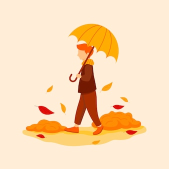 Autumnal flat illustration with male character
