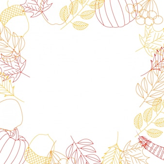 Autumnal frame background with leaves and pumpkins