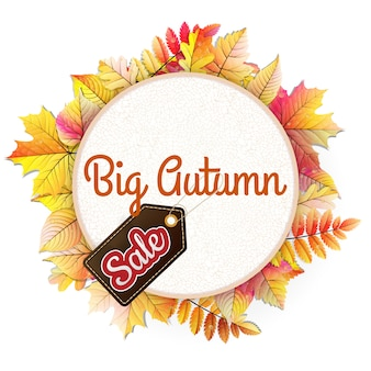 Autumnal frame in the shape of fallen leaf big sale.