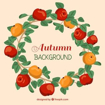 Осенняя рамка с листьями и яблоками