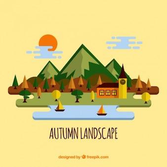 湖とボートでの秋の風景