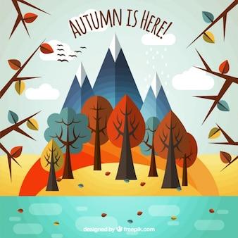 川と幾何学的な木が秋の風景
