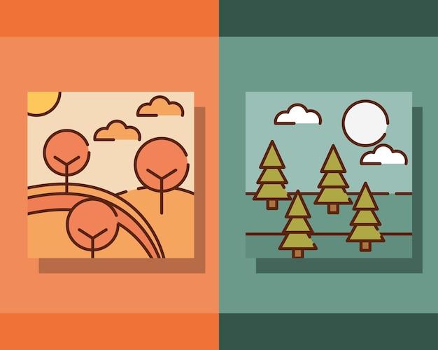 直線的なスタイルで設定された秋の風景