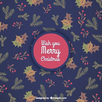 Autumnal leaves christmas background
