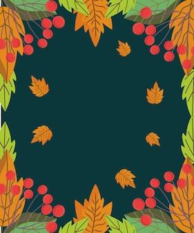 Autumnal leaves foliage nature berries plants black background  illustration