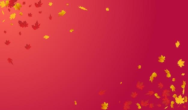 秋の植物ベクトル赤い背景。リアルな葉のテクスチャ。カラフルな明るい葉カード。 11月のデザイン。