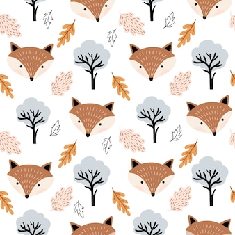 Autumnal seamless pattern with cute foxes and leaves