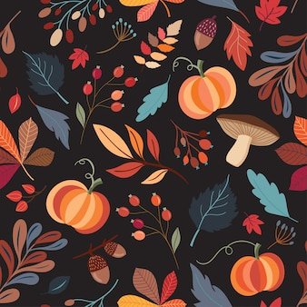 Autumnal seamless pattern with hand drawn decorative elements on black background