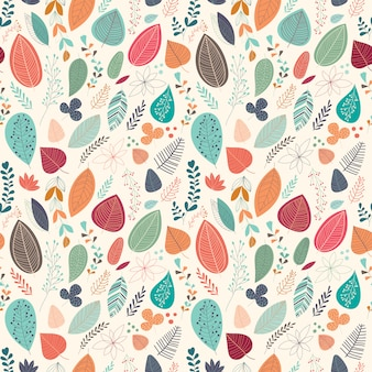 Autumnal seamless pattern with leaves and plants