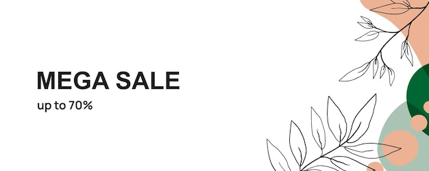 Autumnal seasonal sale banner in minimalist style decorated with graphic leaves and twigs