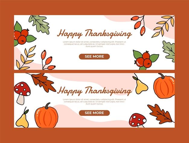 Set di striscioni autunnali del giorno del ringraziamento