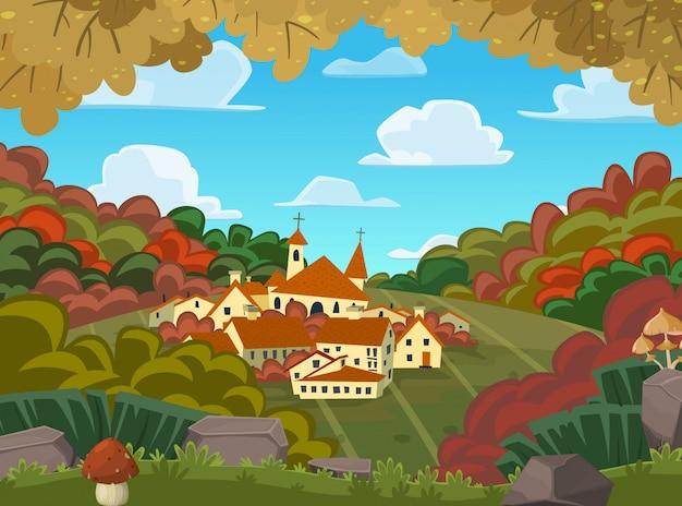 Autumnal vector landscape