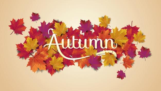 Autumnlayoutのタイポグラフィが葉で飾る
