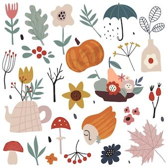 秋の葉ベリー花植物カボチャキノコと枝のautumsベクトルコレクション