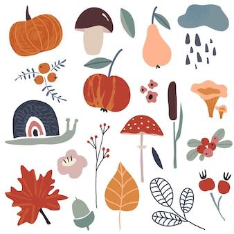 秋の葉、ベリー、植物、果物、カボチャ、キノコ、枝の秋のベクトルコレクション