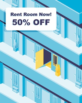 Available room. rent room now! promotional banner