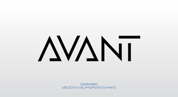 Avant, a futuristic typeface design. alphabet font with technology theme. modern minimalist typography