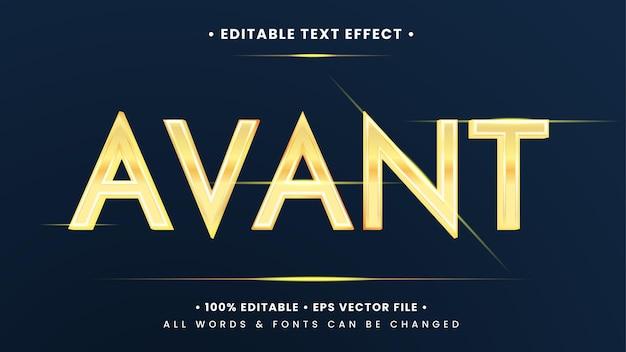 Эффект стиля текста avant gold elegant 3d. редактируемый стиль текста иллюстратора.