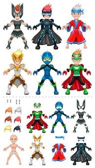 Avatar aislados ilustración vectorial superhéroes objetos todos los elementos se adaptan perfectamente a los demás caracteres de mayor tamaño en la parte superior son sólo algunos ejemplos de diversas combinaciones entre 5 ojos 6 colores 6 peinado vestidos en la parte inferior de la vista previa