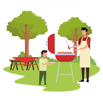 Avatar boy and man in a bbq grill
