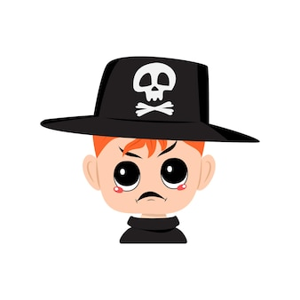 Avatar of boy with red hair angry emotions grumpy face furious eyes in hat with skull cute kid with ...